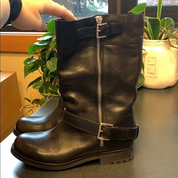 Coach leather motorcycle boots